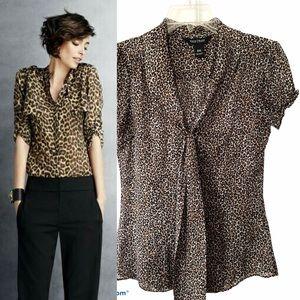 WHBM•short sleeve leopard animal print top XXS EUC